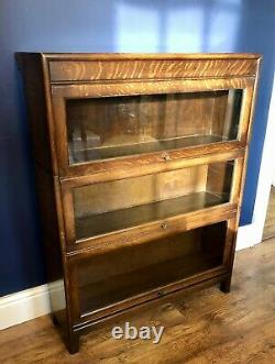 Globe Wernicke Style 3 Tier Barristers Stacking Bookcase Circa 1930 Art Déco