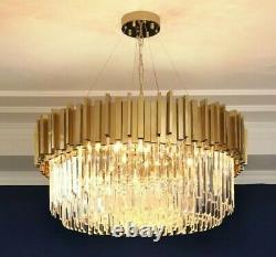 Gold Crystal Moderne Plafond Lumière Pendentif Chandelier Lampe