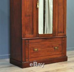 Grand Antique Victorien Attrayant Noyer Miroir Porte Armoire Avec Tiroir De Base