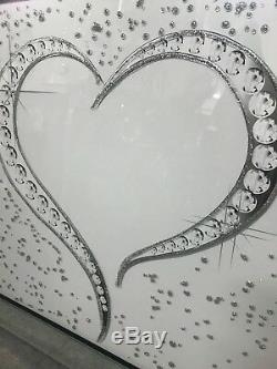 Grand Éclat Argenté Et Blanc Coeur Paillettes Scintillantes Dans Un Cadre En Miroir