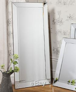 Grand Miroir De Sol Long En Verre Biseauté Vénitien Baskin 23 X 53