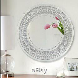 Grand Miroir Mural Sunburst Miroirs Circulaires Vénitiens En Verre Couloir Argenté Moderne