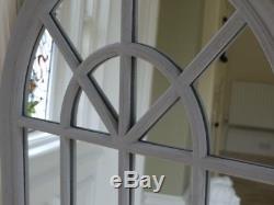 Grand Miroir Rustique Gris D'arc De 130cm Avec 20 Panneaux En Bois Gothiques