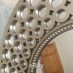 Grand Unique Argent Effet Miroir Rond Art Déco Cadeau Décoration Nouveau Design Chaud
