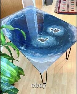 Grande Main Ocean Rock Vagues Résine Art Painting Home Decor Café / Table Latérale
