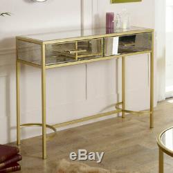 Grande Table Console Antique Cadre D'or En Verre Miroir Salle De Séjour Cru