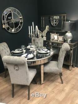 Grande Table De Salle À Manger Ronde En Verre Miroir Avec Miroir Français Argenté Antique (h18609)