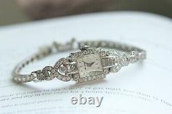 Hamilton Vintage Art Déco Ladies Elegant Montre Platinum & Diamonds Bracelet