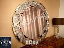 Hhw Grand Miroir De Mur Rond Écrasant Diamant Joyau Bijou Étincelle Bling Art Déco 90cm