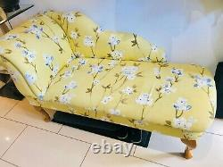 Homcom Deluxe Vintage Style Tissu Chaise Longue Jaune