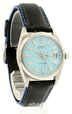 Homme Rolex Oyster Date Précision 6694 Acier Inoxydable Baby Blue Cadran Montre