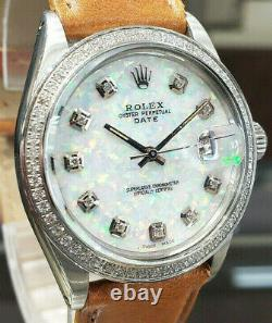 Homme Vintage Rolex Oyster Perpetual Date 34mm Blanc Cadran Opal Diamant Inoxydable