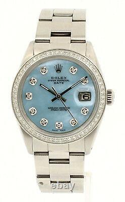 Homme Vintage Rolex Oyster Perpetual Date 34mm Bleu Mop Cadran Diamant Montre En Acier