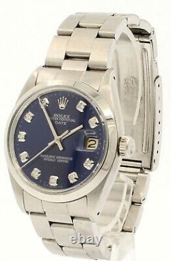 Homme Vintage Rolex Oyster Perpetual Date 34mm Cadran Bleu Diamond Montre En Acier