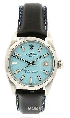 Homme Vintage Rolex Oyster Perpetual Date 34mm Cadran Bleu Montre En Acier Inoxydable