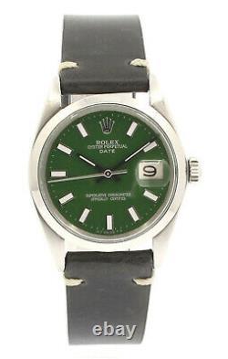 Homme Vintage Rolex Oyster Perpetual Date 34mm Cadran Green Montre En Acier Inoxydable