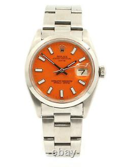 Homme Vintage Rolex Oyster Perpetual Date 34mm Cadran Orange Montre En Acier Inoxydable