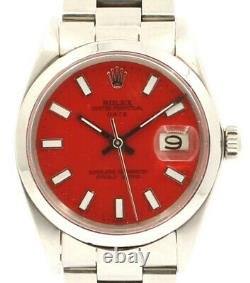 Homme Vintage Rolex Oyster Perpetual Date 34mm Cadran Red Montre En Acier Inoxydable