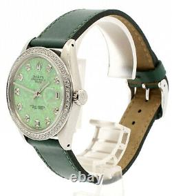 Homme Vintage Rolex Oyster Perpetual Date 34mm Green Opal Cadran Diamant Inoxydable