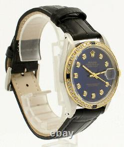 Homme Vintage Rolex Oyster Perpetual Date Juste 36mm Bleu Diamond Cadran Montre