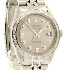 Homme Vintage Rolex Oyster Perpetual Date Juste 36mm Cadran Argent Montre Diamond