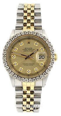 Homme Vintage Rolex Oyster Perpetual Datejuste 36mm Cadran Or Montre De Lunette Diamond
