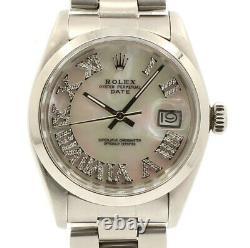 Hommes Rolex Oyster Perpetual Date 34mm Blanc Mop Cadran Romain Montre En Acier Diamant