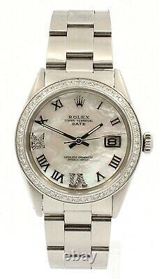Hommes Rolex Oyster Perpetual Date 34mm White Mop Roman Cadran Montre En Acier Diamant