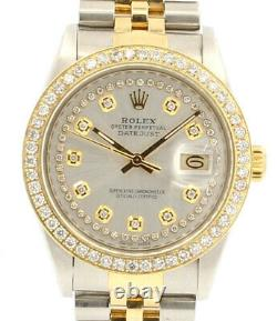 Hommes Rolex Oyster Perpetual Date Juste 36mm Argent Diamant Montre