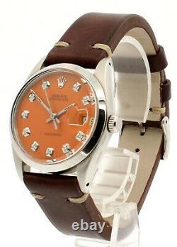 Hommes Rolex Oysterdate Précision 6694 Acier Inoxydable Cadran Orange Montre Diamant