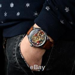 Hommes Skeleton Montre, Vieux Antique Pocket Watch, Mouvement Suisse, Montres Personnalisées