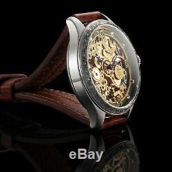 Hommes Squelette Montre-bracelet Vintage 1907 Mécanique 15j Restauré Mouvement Suisse