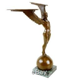 Icarus Statue Art Déco Bronze Sculpture Signée Gennarelli Sur Marblebase