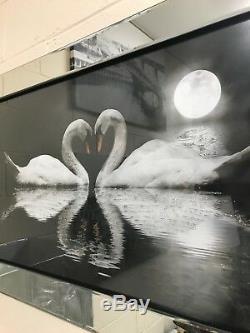 Image De Cygne Affectueux Avec Des Paillettes Dans Un Cadre En Miroir, Photo D'art D'oiseaux Cygnes