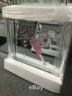 Image De Miroir D'art De Paillettes 3d En Verre De Champagne Rose, Image En Verre De Champagne