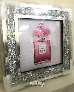 Image De Paillettes De Bouteille De Parfum Rose Avec Cadre À Diamants En Miroir