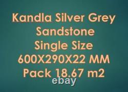 Indian Kandla Silver Grey Sandstone Hand Cut Patio Stone Paving Dalles 600x290 MM