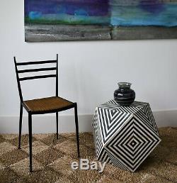 Insolite Indien Marocain Géométrique Op Art Côté Hall Café Café Chaise Chaise Lampe Table