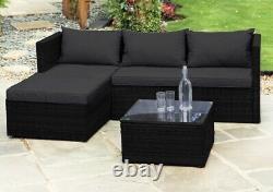 Intérieur Et Extérieur Rattan Effect Garden Patio Sofa Ensemble Avec Table & Coussins
