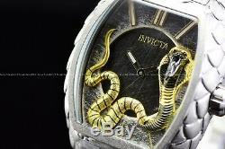 Invicta 47mm Tonneau Venom King Cobra Argent Suisse Serpent Bracelet Texture Montre