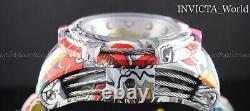 Invicta Bolt Zeus 52mm Hydroplate Bracelet Graffiti Blanc Chronographe Montre Nouveau