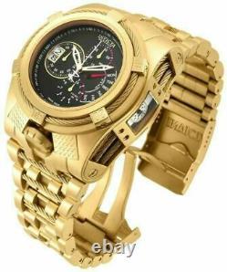 Invicta Men's 56mm Bolt Zeus Tria Gold Plated Stylish Choronographe Swiss Watch Invicta Men