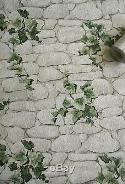 Ivy Brique Effet Fond D'écran De Pierre D'ardoise Texturé Vert Gaufrée Blanc Erismann