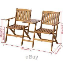 Jardin Dining Set Banc En Bois Avec Thé Table 2 Chaises Meubles De Patio Causeuse