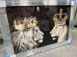 King & Queen Lion & Lioness Glitter Wall Art Picture With Mirrored Frame King & Queen Lion & Lioness Glitter Wall Art Picture With Mirrored Frame King & Queen Lion & Lioness Glitter Wall Art Picture With Mirrored Frame King &