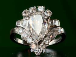 L'art Antique Déco Style Vitage Blanc 3.62ct Diamant Poire 14k Bague De Fiançailles En Or