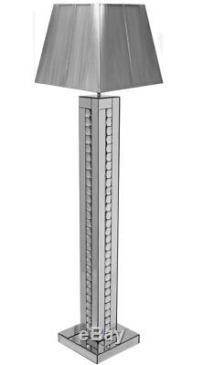 Lampadaire En Cristal Scintillant De Cristaux Miroitants Avec Carré Silver Shade 175cm / Home