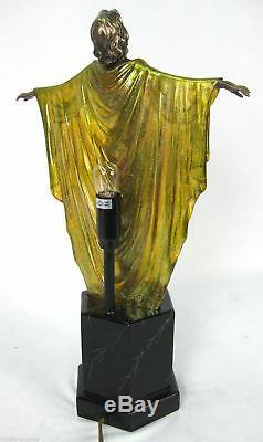 Lampe De Table Art Déco / Nouveau De 48cm Femme Élégante Figurine Finition Bronze Polystone