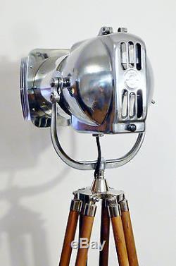 Lampe De Théâtre Vintage Des Années 1950, Lampe De Sol Art Deco, Argent, MID Century Strand, Rétro