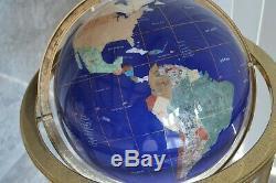 Lapis Pierres Précieuses Tuile De Mosaïque En Laiton Du Monde Globe Floor Stand, Pierres Semi-précieuses